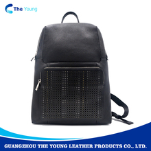 OEM black ladies genuine leather backpack