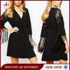 Cocktail dresses long sleeves black one piece lace ladies dress