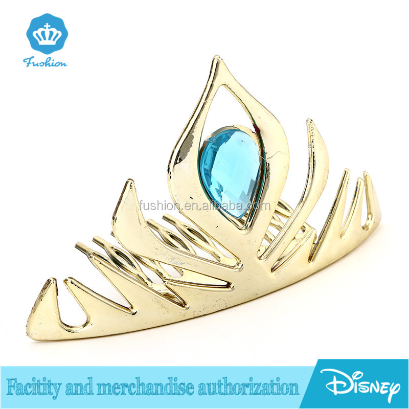 Plastic abs gold crystal Frozen Princess Elsa Anna Queen Crown For Girls