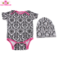 New Arrivals 2018 Baby Clothing Plain Damask Print Infant Romper Baby Onesie 0-24 Months with Hats