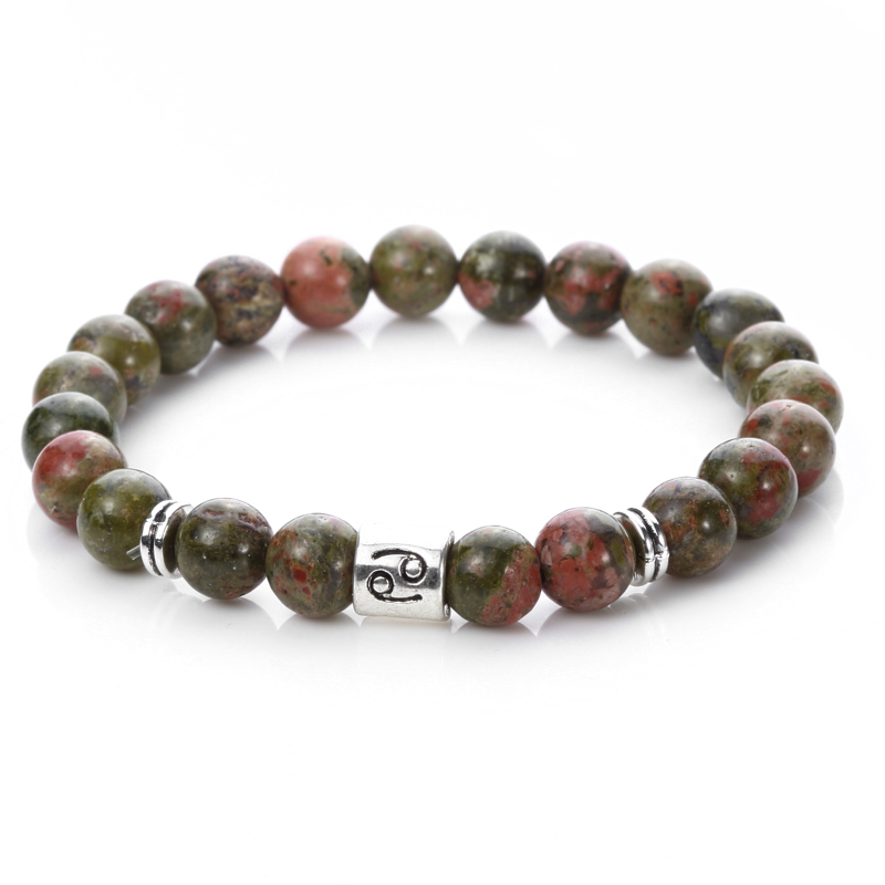 Men's Green Stone Cancer Zodiac Sign Horoscoped Charm Beaded Bracelet