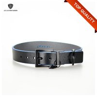 Blue Edges Classic High Quality Plain Genuine Leather Dog Collar
