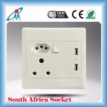 2015 South Africa and Brazil 220V 16A switch wall Socket Outlet with USB Charger