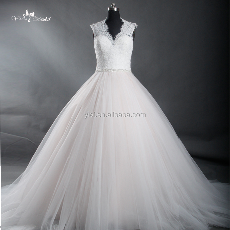 J--0072 champagne and white tulle vestid de novia bling beading lace ball gown wedding dress