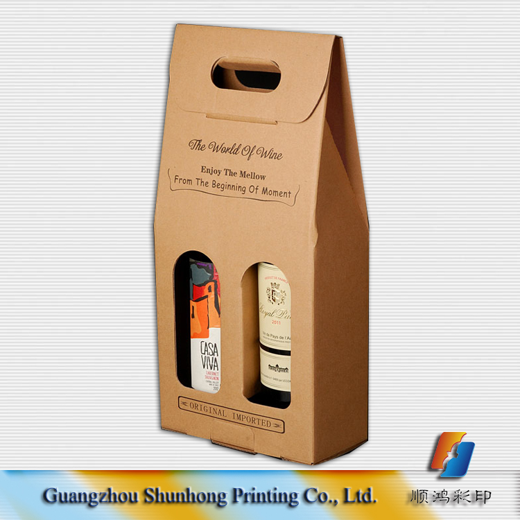 Hot sale costom wine kraft paper packaging bag with window for gift