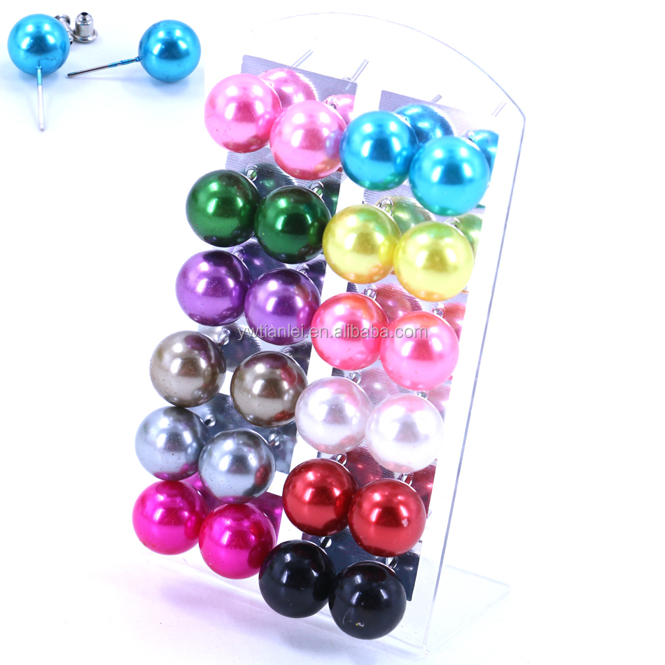 Wholesale 12pairs Card Packing Set 12mm Big Plastic Pearl Piercing Earrings