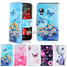 Customize Artwork Printed PU Leather Wallet Phone Case For LG Optimus L5 II E460