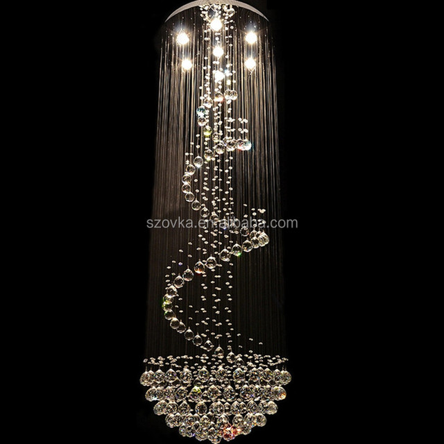 Led crystal lamp round villa staircase lights hotel engineering lamps double floor long chandelier creative living room lights