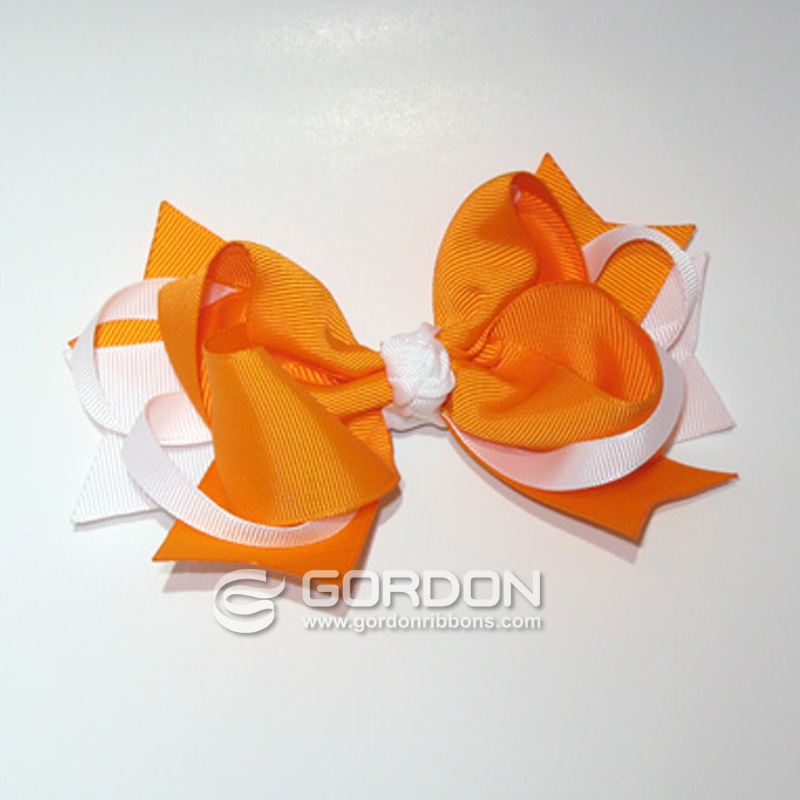 Tootie-Fruity Tangerine and White Hair Bow