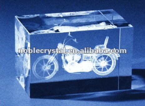 3D Laser Engraved Crystal Motorcycle As Crystal Gifts Souvenirs