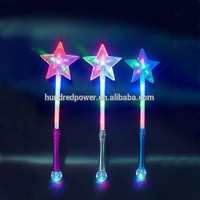 2015 Newest 12 LED Light Up Star Wand with 3CM Disco Ball for Parties