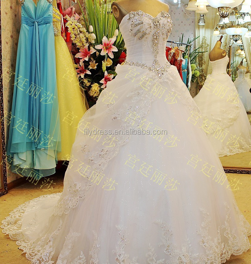 Lace White Popular Big Ball Floor Length Custom Made Formal Bridal Gowns Design Robe De Mariee HS323 alibaba wedding gowns