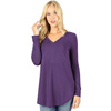 Buttery Soft Double Brushed Fabric Women Dress Solid Long Sleeve Top
