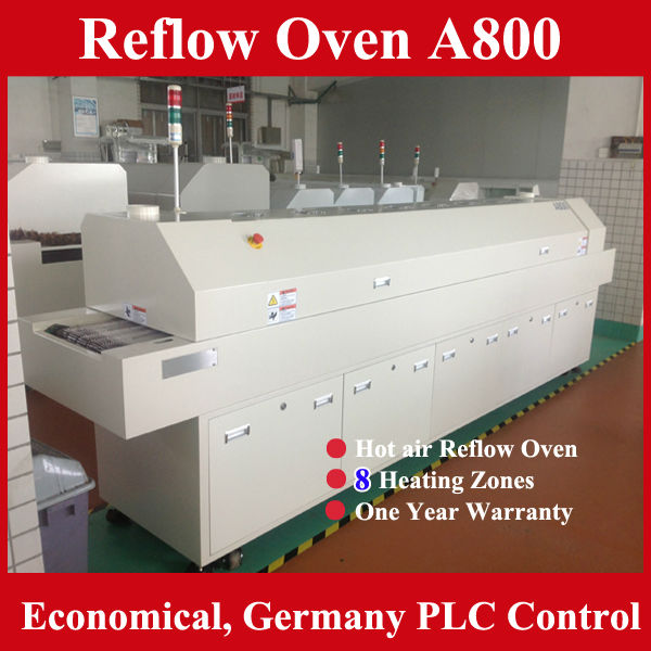 Reflow Oven A800 Graphics Card IPC+PLC Control 8 Heating Zone Lead Free Reflow Soldering