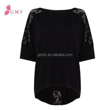 2015 women black lace sleeves cotton cotton blouse pattern