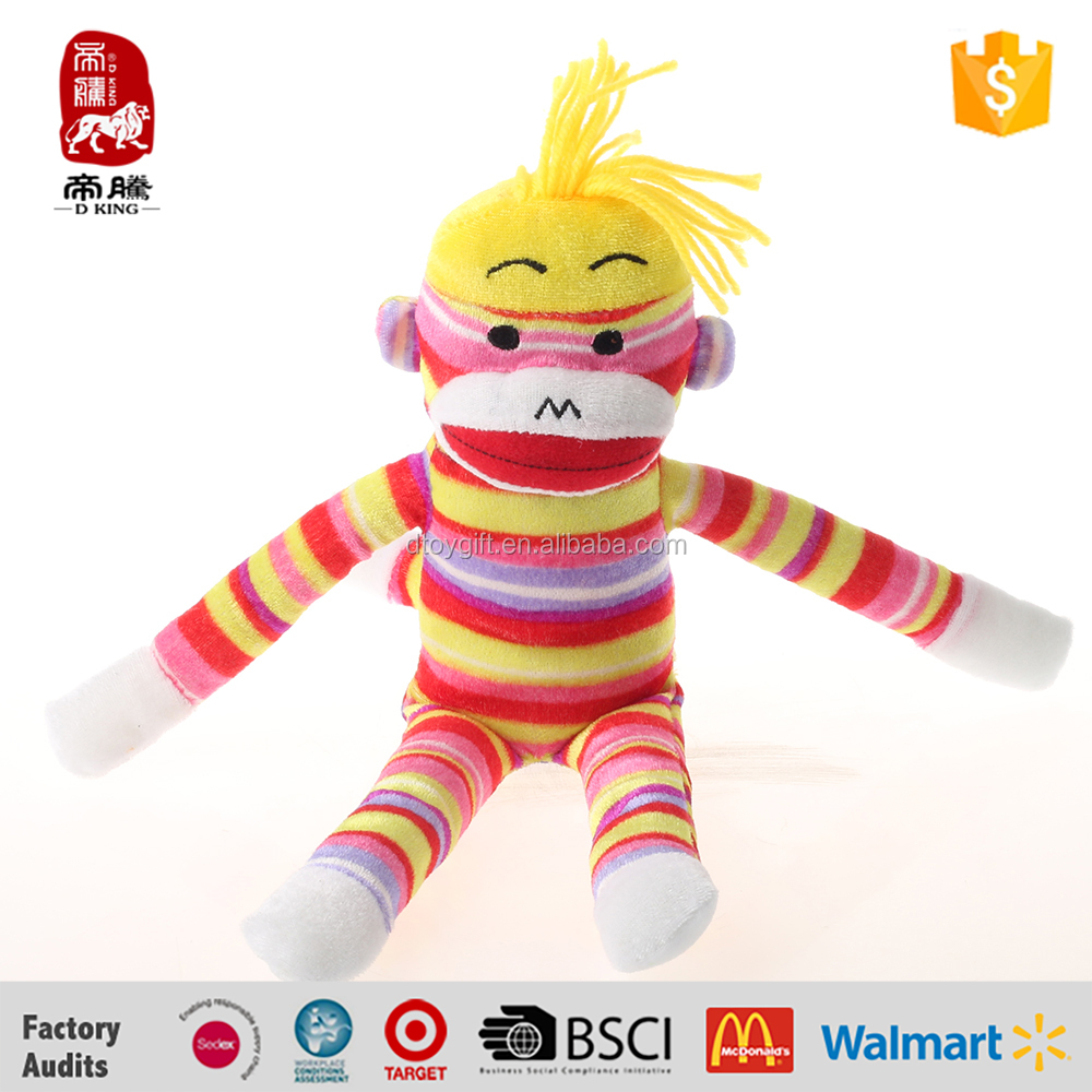 Hot sales monkey type and plush material colorful sock monkey doll
