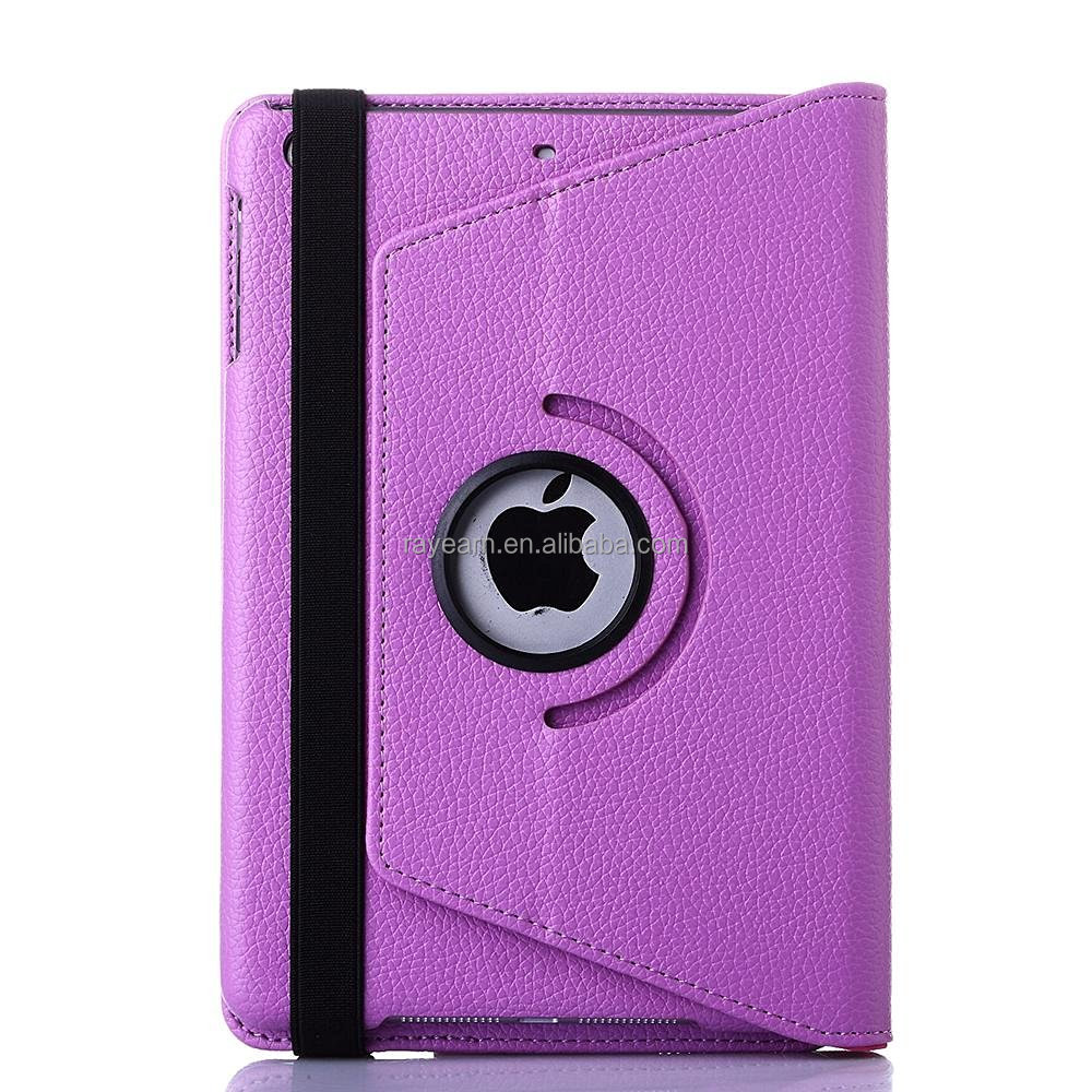 Bluetooth Keyboard Case for iPad Mini Bluetooth Keyboard Case, TabPow Purple Classic Folio 360 Degree Rotating PU Leather Case