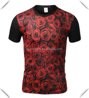 fashionable All-Over Red Roses Graphic Sublimation T-shirt printed custom wholesale