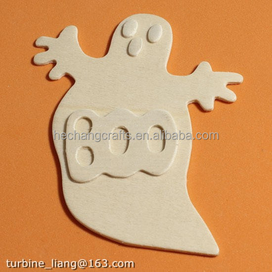 Unfinished art craft Wood Ghost Cutout for Halloween and Fall Wood Cutouts