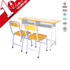 Hot sale school classroom student desk with chair for 2 persons