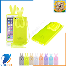 Colorful transparent soft rabbit ears tpu silicone lanyard phone cover for iPhone 6 6s 6 plus 6s plus