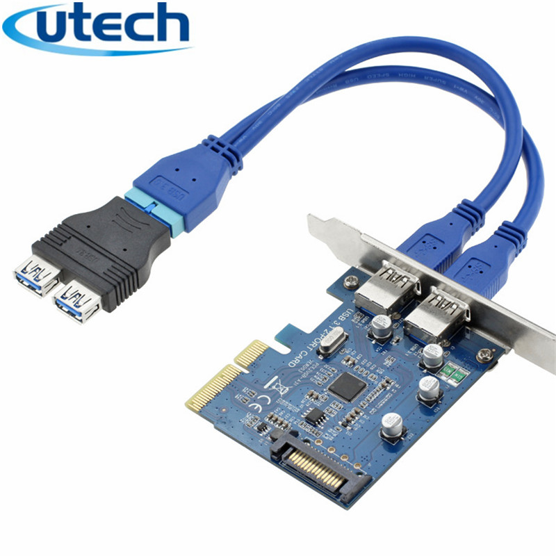 Header Motherboard Extension Adapter Cable USB 3.0 A Male 2 Ports to 20 Pin Male