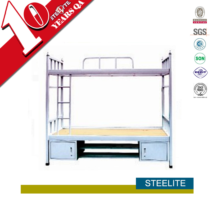 Cold rolled steel cheap adult bunk beds with storage cabinet