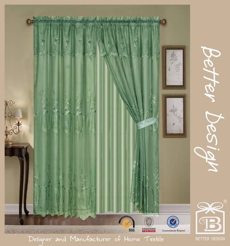 2pcs Voile Embroidery Decorative Egyptian Curtains/Drapes Arabs For Manufactured Home With Taffeta Backing