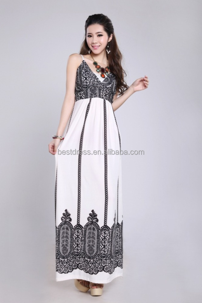 walson 2016 women summer fashion sling long printed chiffon long maxi dress