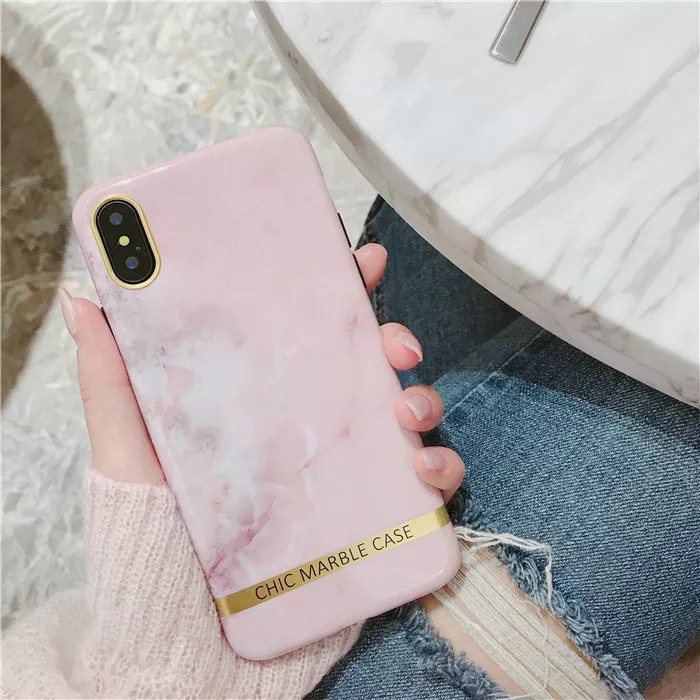 For iPhone X Marble Design Case with Gold Stripe Hard Back Case Cover for iPhone X