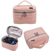 Pink double layer portable nylon cosmetic case