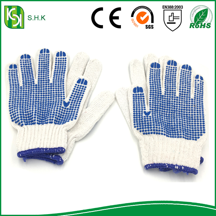 High quality Custom Designed Labor Protection Work Glove Cotton Glove with blue PVC dots For Working