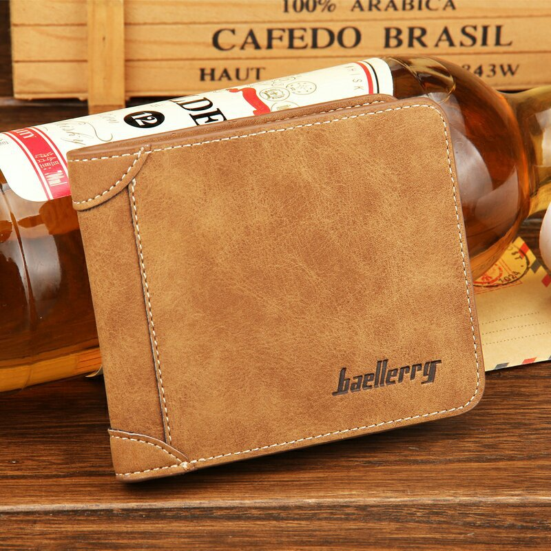 Baellerry European and American men 's retro short purse ultra - thin fashion casual matte leather wallet