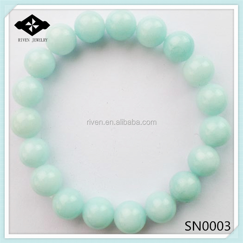 SN0003  4mm 6mm 8mm 10 mm Women And Man Casual Cool Stretch Aquamarine stone bead bracelet.jpg