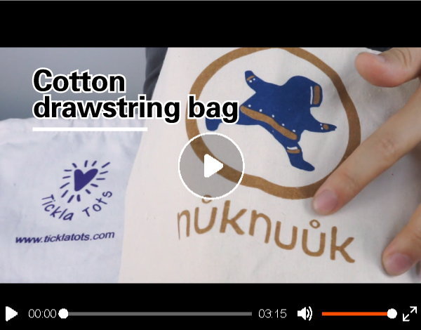 Wholesale Custom logo Printed natural white Drawstring Cotton Pouch