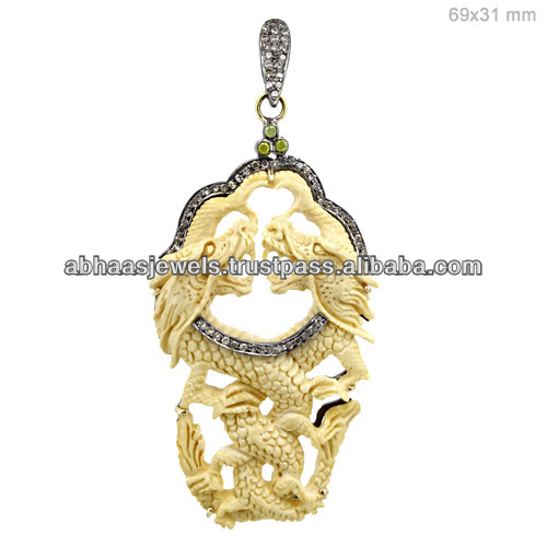 Gemstone 14k gold and sterling silver carving bone new design dragon pendant