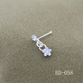 925 Silver Jewelry Flower Diamond Nose Stud with ball Pericing body jewelry