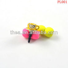 2013 Hot sale cute kitty cat cup charm dust plugs, yellow enamelled alloy plugs 17*10MM(cup size)