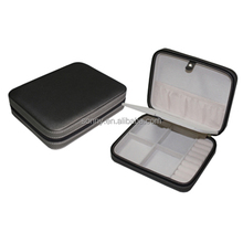 Portable Leather Travel Brooch Jewelry Case with Zipper