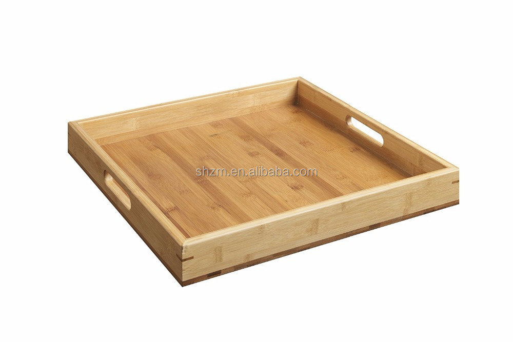 Natural Bamboo Kitchenware Accessories Organizer Square Food Storage Serving Cutlery Tray with Handles