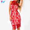 Womens Clothing Apparel High Neckline Summer Sexy Red Lace Dress Plus Size Backless Scalloped Hem Elegant Bodycon Party Dress