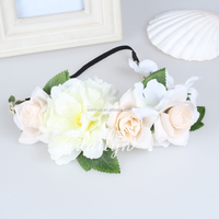 Addilyn 464F08EIX Free samle wholesale fabric white flowers elastic headband girls wedding headband