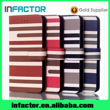 Mobile phone leather case canvas design for iPhone 6 good quality wallet case