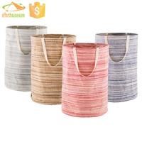 Fabric colorful Round canvas heavy duty laundry bag with handles