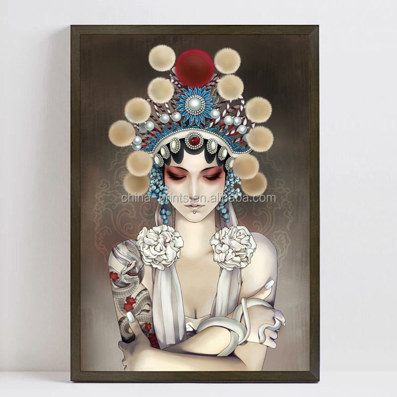 Wall Art Chinese Girl Photo Print Into Canvas