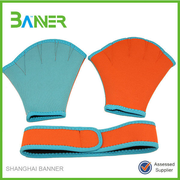 Custom colorful neoprene waterproof swimming gloves for kids