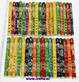 Bamboo flutes with ethnic latin ornament, different colors