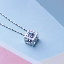 925 Sterling Silver Hollow Square Necklace <strong>Pendant</strong> Magic Cube Crystal Cubic Zirconia <strong>Pendant</strong>
