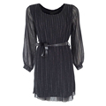 Latest ladies long sleeve fitted bandage chiffon striped glitter dress black for women