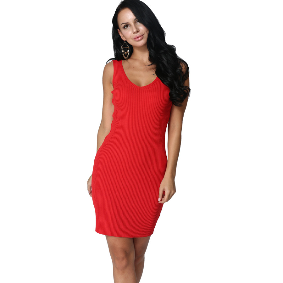 F30094A womens clothes knitted deep V neck plus size dress bodycon dress In 2017